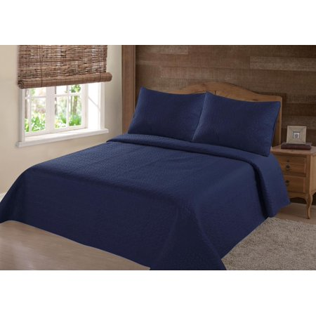 Modren Collection 1900 Count Queen Nena Navy Blue Solid Closout Quilt Bedding Bedspread Coverlet Pillow Cases Set
