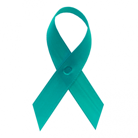 Teal Ribbons (Light Teal Satin Awareness Ribbons - Bag of 250 Fabric Ribbons w/ Safety)