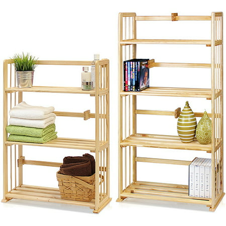 Furinno Pine Solid Wood 4-Tier and 3-Tier Bookshelves Set, Natural Wood, FNCL-Pine