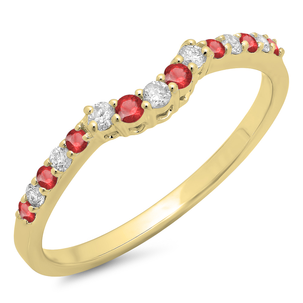 Dazzling Rock 0.30 Carat (ctw) 18K Yellow Gold Round Ruby...