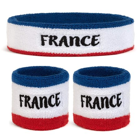 Suddora France Headband & Wristbands Set (Includes 2 Wrist & 1 Head Sweatband) (Headband Set)