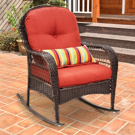 costway outdoor wicker rocking chair porch deck rocker patio furniture w cushion. Black Bedroom Furniture Sets. Home Design Ideas