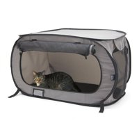 SportPet Designs, Large, Foldable, Top-Loading, Cat Carrier, Gray, 32-in