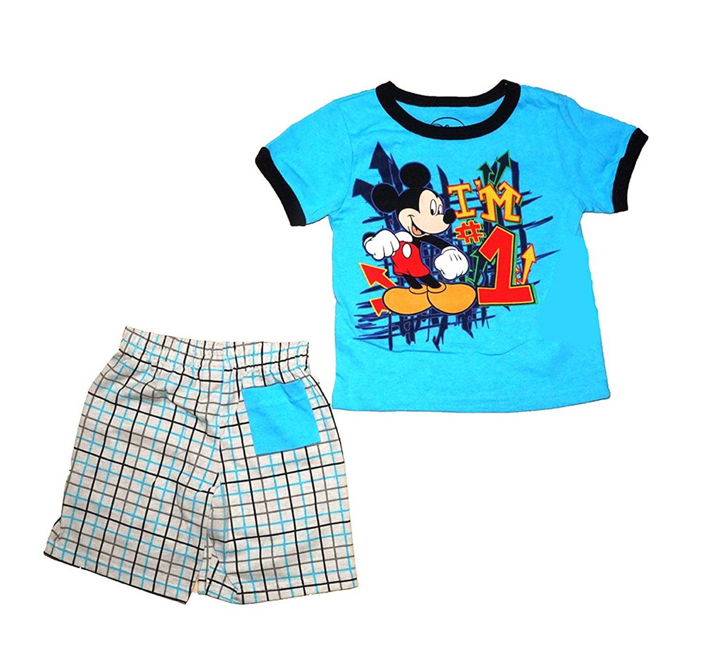Disney Mickey Mouse I'm #1 T-Shirt and Short Toddler Set-Aqua-  (2T)  W6A