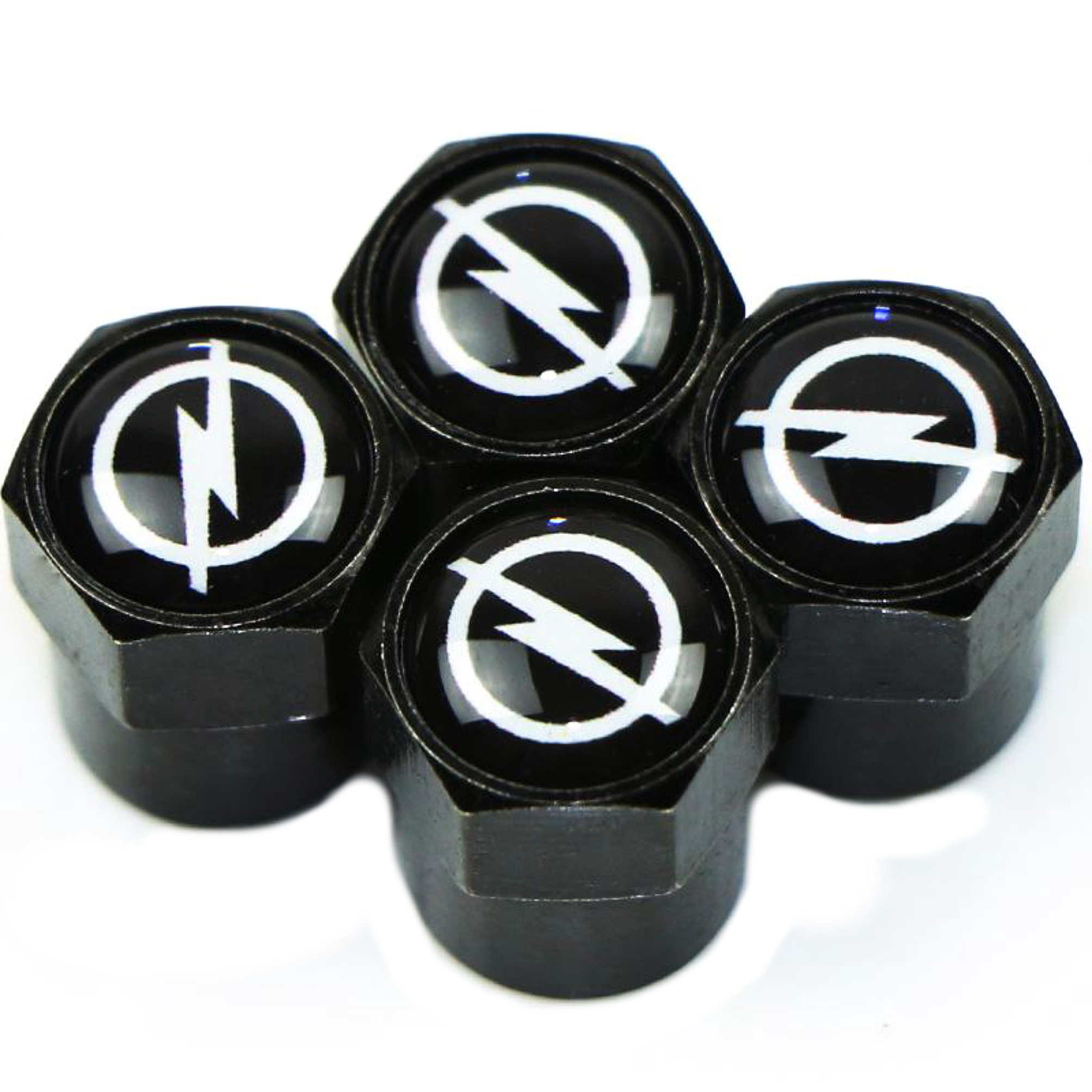 The Flash Thunderbolt 4 Pc. Set Valve Tire Stem Cap Cover Car Motorcycle Bicycle Black Mental Set CAR-VSC-7