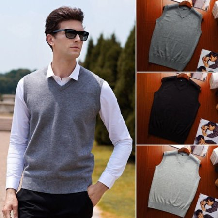 Mens V Neck Sleeveless Tops Soft Knitted Sweater Vest Warm Wool Pullover Shirt Knit Sweater Vest