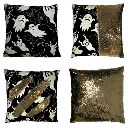 GCKG Halloween Theme Pillowcase, Halloween Dask Night Scary Ghosts Black and White Reversible Mermaid Sequin Pillow Case Home Decor Cushion Cover 16x16 inches