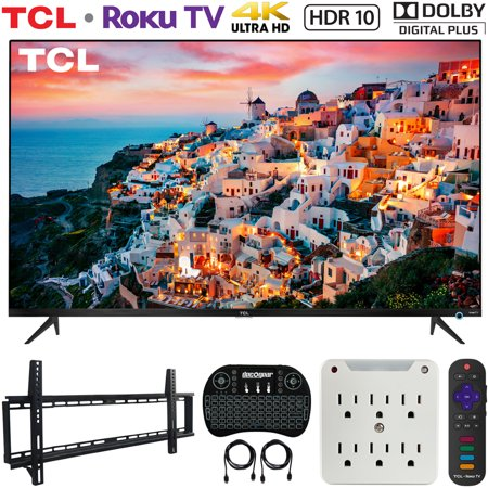 TCL 50S525 50-inch 5-Series Roku Smart HDR 4K UHD TV (2019) Bundle with Vivitar 37-70inch Low Profile Wall Mount Kit, Deco Gear Wireless Keyboard and 6-Outlet Surge Adapter with Night (Best Usb Wifi Adapter 2019)
