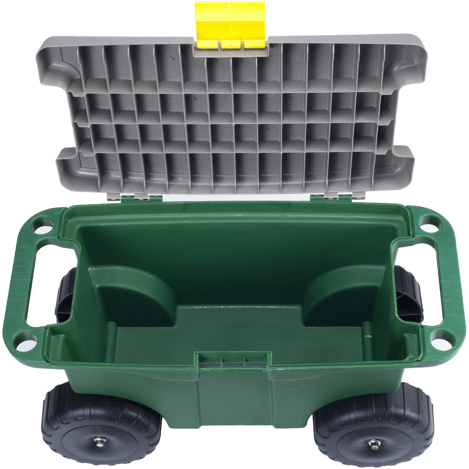 20 Inch Plastic Garden Storage Cart /& Rolling Garden Scooter Tools Cart Supply