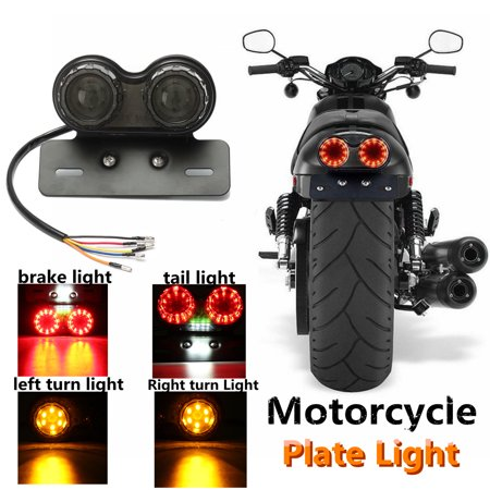 Motorcycle Led Tail Lights - LED Motorcycle Quad ATV Tail Turn Signal Brake Light + License Plate Bracket USA