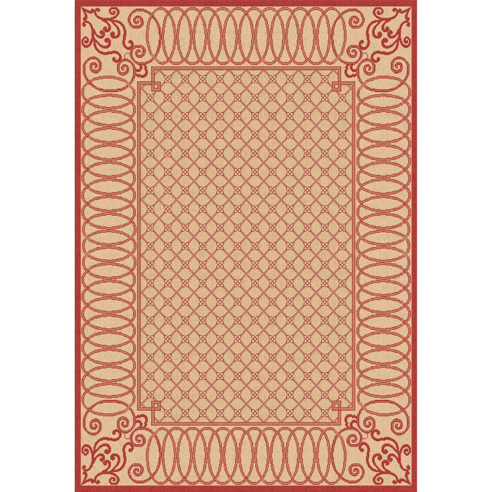 Dynamic Rugs Piazza Infinity Indoor/Outdoor Area Rug - Beige/Red