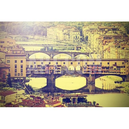 - Bridge Ponte Vecchio in Florence, Italy, Vintage Retro Effect. Print Wall Art By Maciej Bledowski