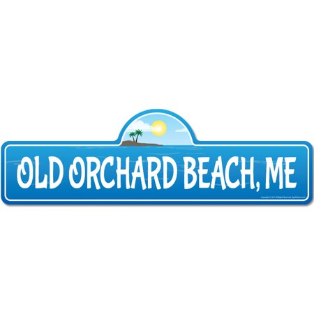 Old Orchard, ME Maine Beach Street Sign | Indoor/Outdoor | Surfer, Ocean Lover, Décor For Beach House, Garages, Living Rooms, Bedroom | Signmission Personalized Gift ()