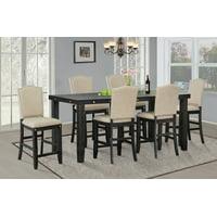 Best Quality Furniture 7pc Rustic C.H. Set Dark Gray or Dark Beige