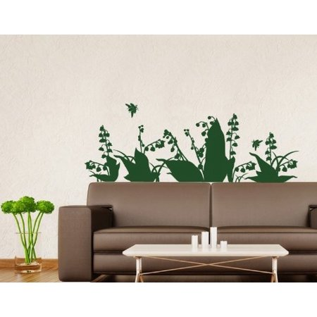 Lily of the Valley Wall Decal - floral Wall Sticker, Vinyl Wall Art, Home Decor, Wall Mural - 3697 - Copper, 55in x 20in ()