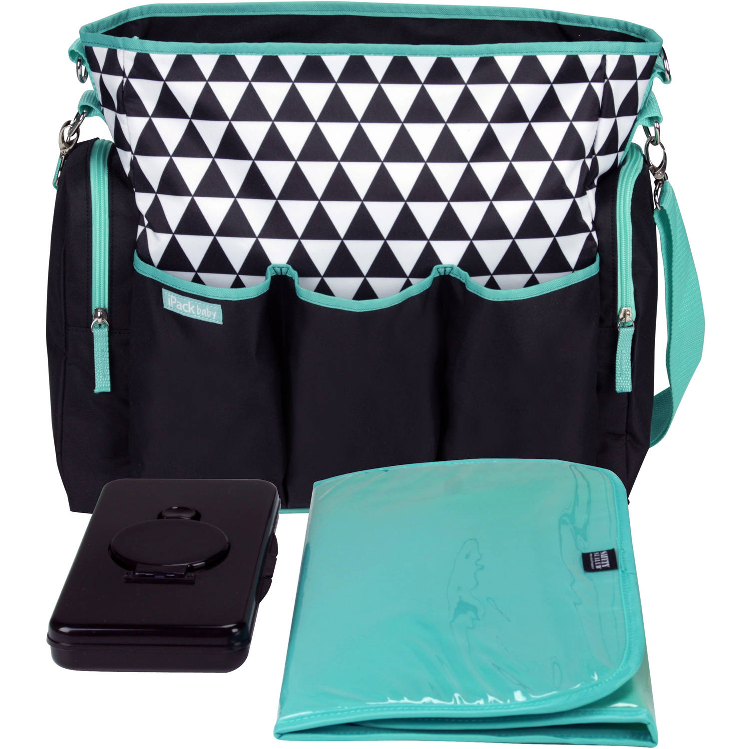 iPack Baby 3-Piece Diaper Bag Set, Black/Teal