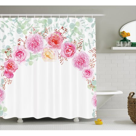 Shabby Chic Bridal Shower - Shabby Chic Decor Shower Curtain, Floral Wreath in Half Blossoming Romantic Bridal Roses Peonies Feminine, Fabric Bathroom Set with Hooks, 69W X 70L Inches, Multicolor, by Ambesonne