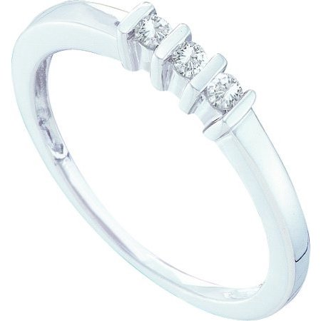 10K White Gold 0.11ctw Dazzling Bar Set Diamond 3 Stone Fashion Band