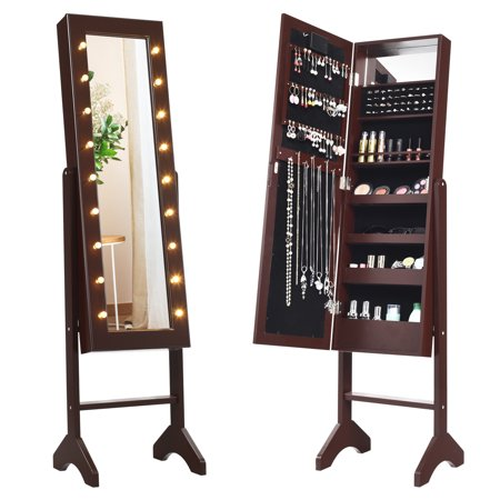 Costway Mirrored Jewelry Cabinet Armoire Organizer Free Standing w/ 18 LED lights Brown ()