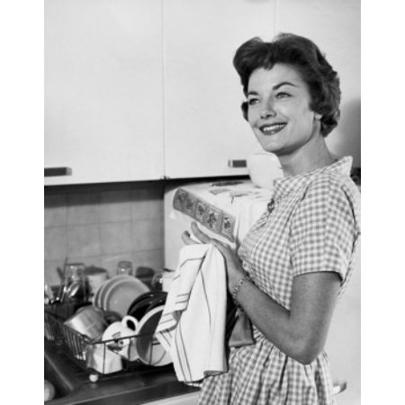 Side profile of a young woman drying her hands with a dish cloth Stretched Canvas -  (18 x 24) ()
