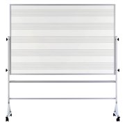Porcelain Steel Mobile Whiteboard w Music Staff Lines