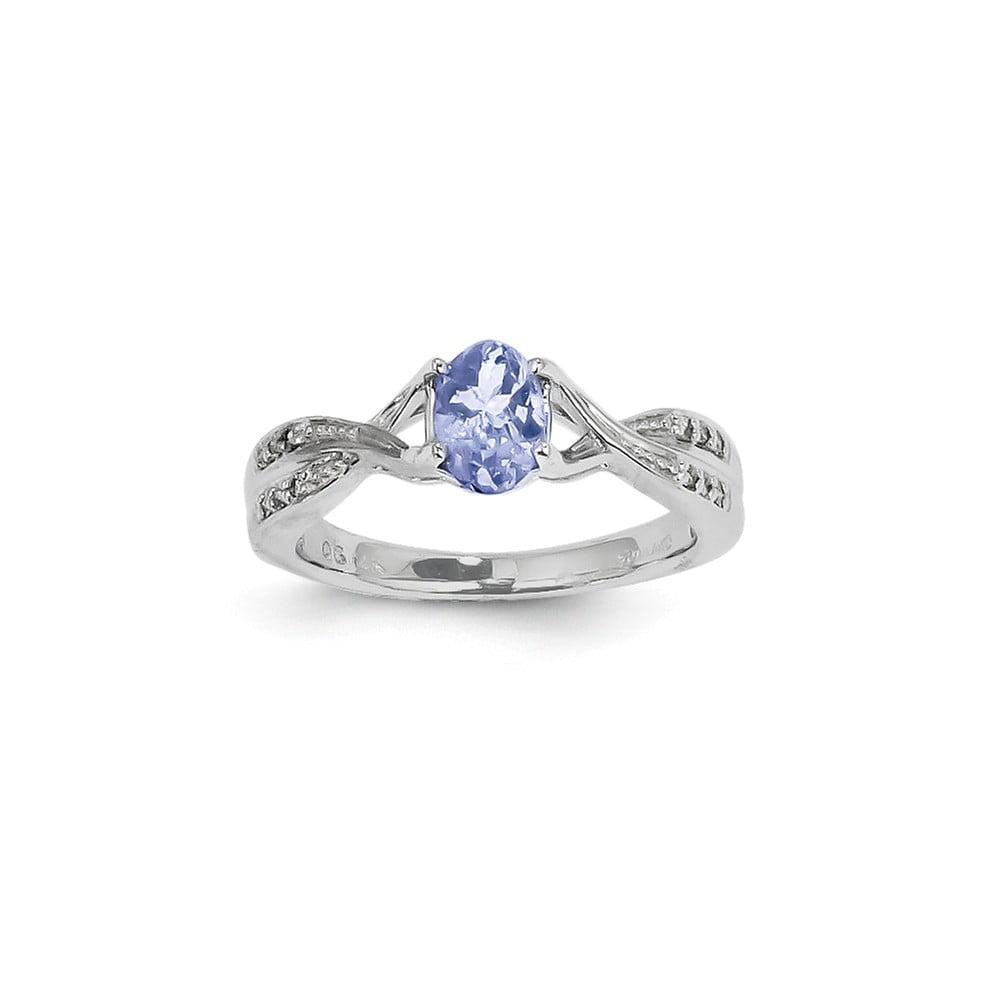 14k White Gold Oval Tanzanite and Diamond Gemstone Ring. Carat Wt- 0.06ct