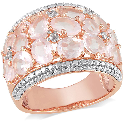 6 Carat T.G.W. Rose Quartz and Diamond-Accent Two-Tone Sterling Silver Fashion Ring