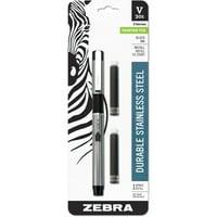 Zebra V-301 Stainless Steel Fountain Pen with Bonus Refill, Fine Point, 0.7mm, Black Ink, 1-Count