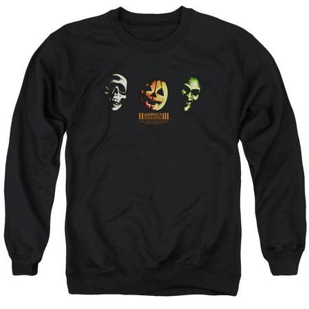 Halloween III Horror Slasher Movie Series Three Masks Adult Crewneck Sweatshirt