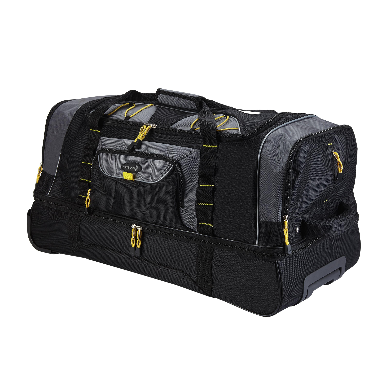 "TPRC 36"" 2-Section Drop-Bottom Rolling Duffel, Black by Travelers Club Luggage"