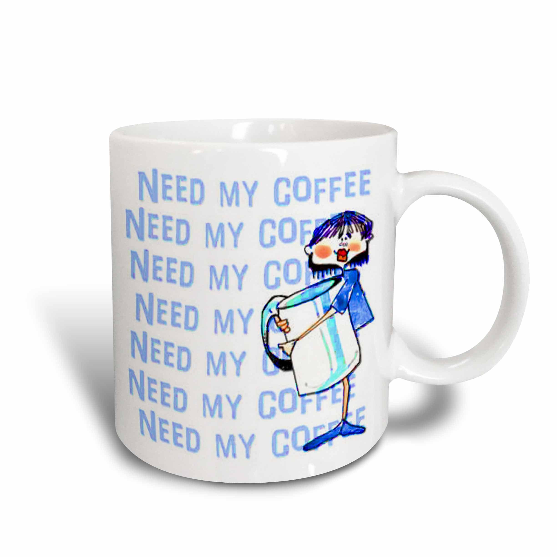 3drose I Need My Coffee Cartoon And Big Coffee Cup To Show