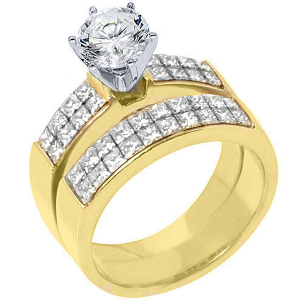 18k Yellow Gold 2.50 Carats Round & Princess Diamond Engagement Ring Bridal Set by TheJewelryMaster