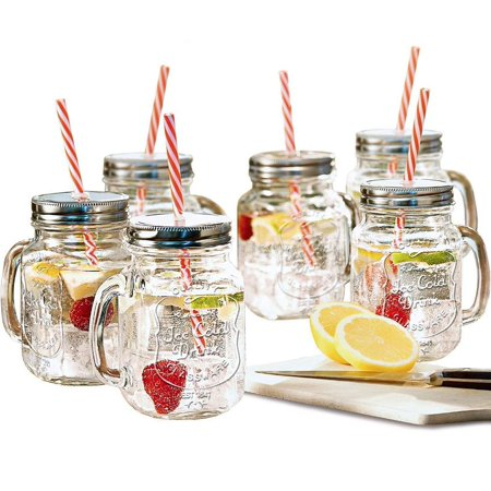 Estilo Mason Jar Mugs with Handle and Straws Old Fashioned Drinking Glass Set 6, 16 oz Each - Lenon Glasses