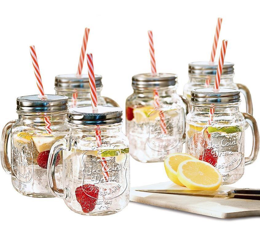 estilo mason jar mugs with handle and straws old fashioned drinking glass set 6 16 - Mason Jar Drinking Glasses