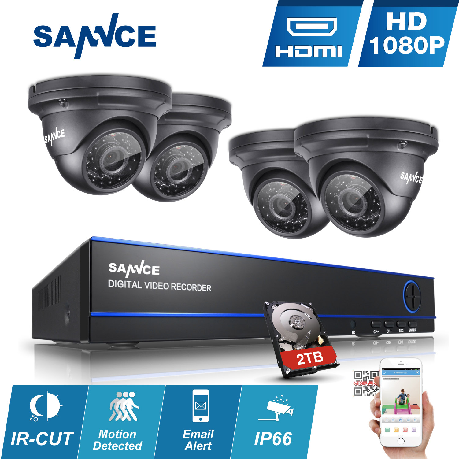 2016 SANNCE 2MP 1080P HD 8 Channel DVR AHD Surveillance Kit 4PCS 3000TVL Outdoor Home Security Camera CCTV System(0-NO HDD,1-1TB HDD,2-2TB HDD)