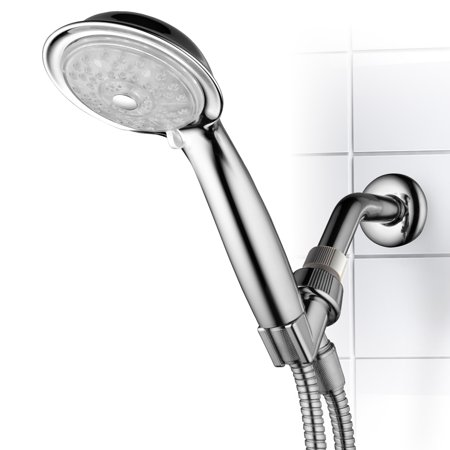 4in 1 Sewer Adapter - PowerSpa 7-Color 4-Setting LED Handheld Shower Head with Pressure-Boost Nozzles