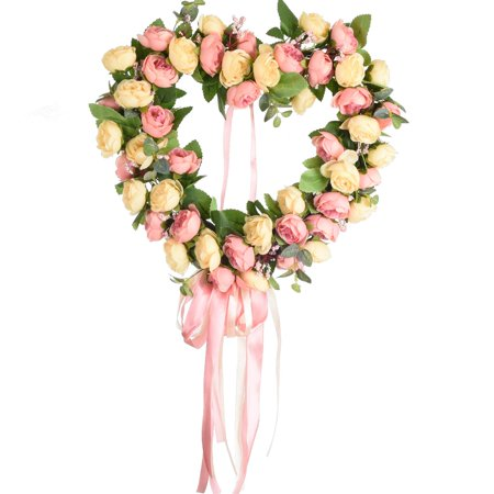 Coolmade 14 Inch Artificial Rose Flower Wreath Heart Shaped Floral Wreaths Door Springtime Wreath For Front Door Outdoor Wall Wedding Home Summer