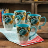 The Pioneer Woman Rose Shadow 4-Piece 26-Ounce Latte Mug Set, Turquoise