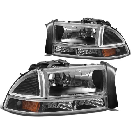 For 97-04 Dodge Dakota/Durango 4pcs Replacement Headlight+Bumper Lights (Black Housing Amber Reflector) 99 00 01 02 03