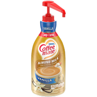 Coffee Mate Vanilla Almond Milk Liquid Coffee Creamer Bulk Coffee Creamer Pump Bottle Lactose Free 50.7 Oz