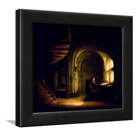 Philosopher with an Open Book, 1625-7 Framed Print Wall Art By Rembrandt  van Rijn