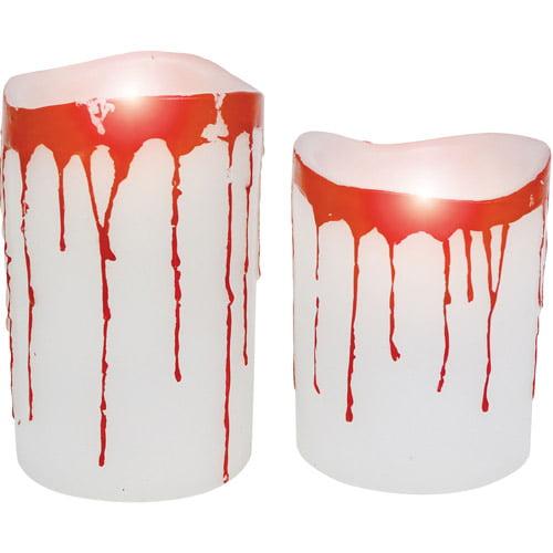 Blood Dripping Pillar White Candle, Set of 2