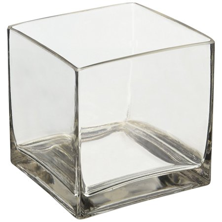 "6"" Square Glass Vase - 6 Inch Clear Cube Centerpiece - 6x6x6 Candleholder, Glass By Thasaba"