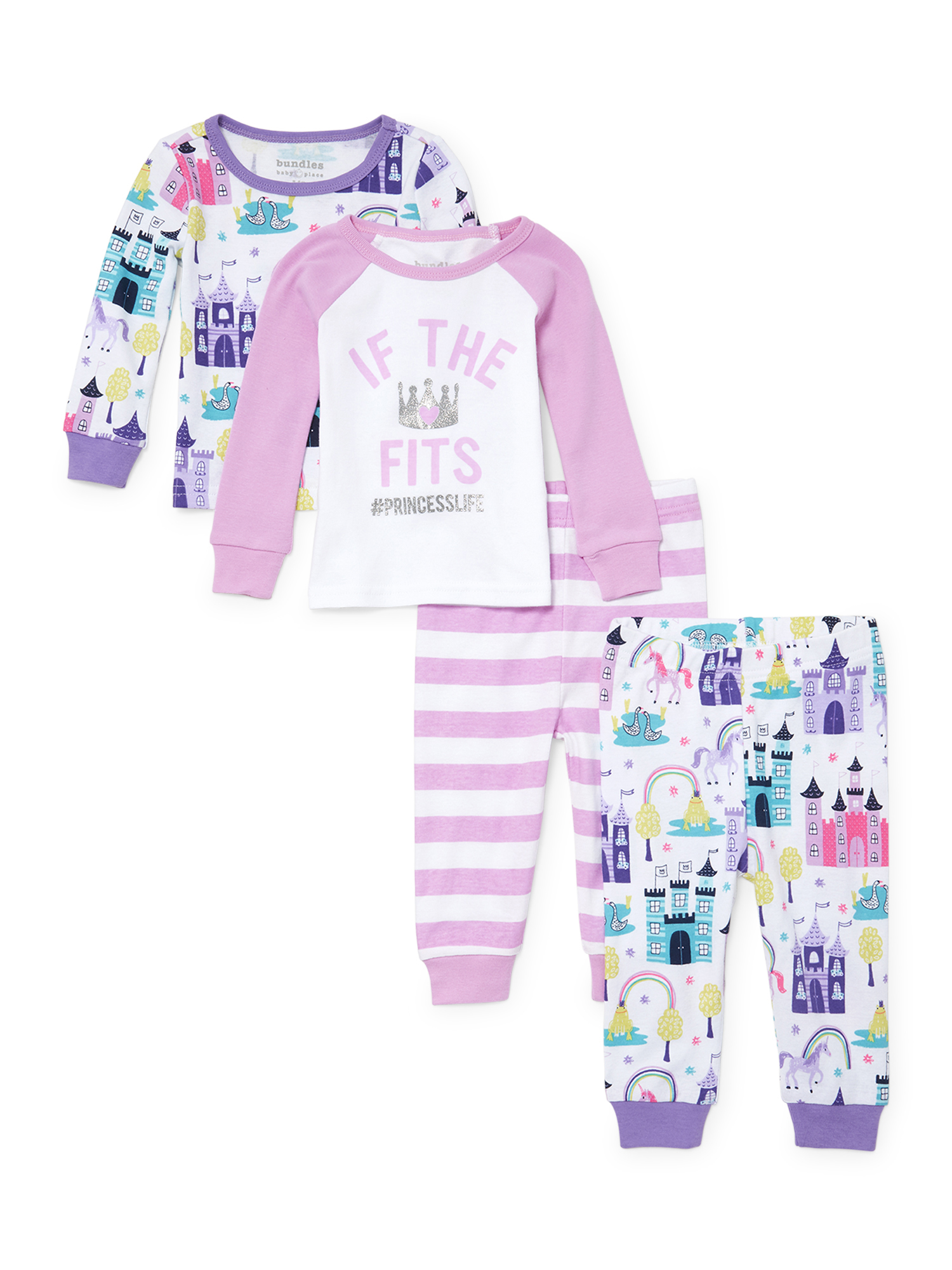 Long Sleeve Tight Fit Pajamas, 4-piece Set (Baby Girls & Toddler Girls)