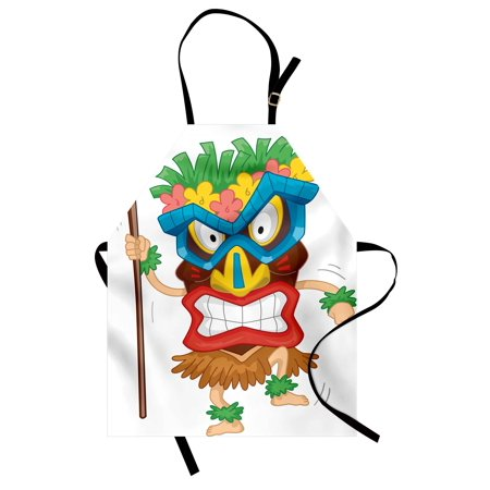 Tiki Bar Apron Native Man Wearing a Mask Illustration Cartoon Tribal Costume Primitive Ritual, Unisex Kitchen Bib Apron with Adjustable Neck for Cooking Baking Gardening, Multicolor, by Ambesonne - Tiki Man