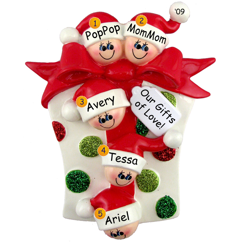 Glitter Gift Family 5 Personalized Christmas Ornament DO-IT-YOURSELF