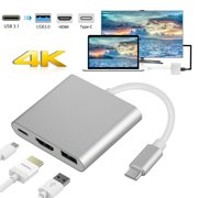 USB C Adapter, TSV Type C to HDMI 4K+USB 3.0+USB-C Converter Cable Charging Port Adapter Cable with Large Projection fit for MacBook/Chromebook Pixel/Sumsang Galaxy S8/S9