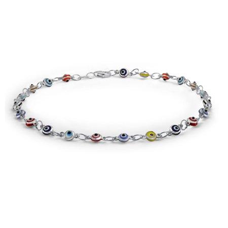 - Turkish Evil Eyes Multi Color Anklet Link Ankle Bracelet 925 Sterling Silver 10 Inch
