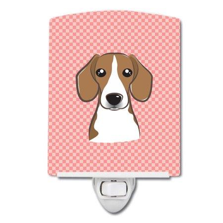 Checkerboard Pink Beagle Ceramic Night Light