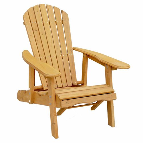Leisure Season Reclining Adirondack Chair with Pull-Out Ottoman, Medium Brown by Tradeworks Group LTD